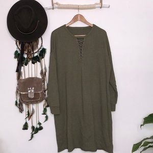 American eagle outfitters olive green sweaterdress